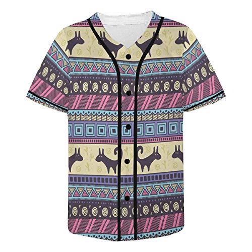 (INTERESTPRINT Men's Tribal Pattern Baseball Jersey Button Down T Shirts S)