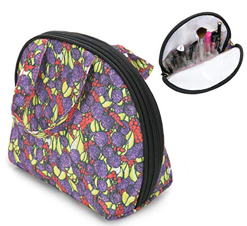 Makeup Bag with Compartments | Everyday Makeup Bag + Travel Makeup Bag with Dividers | Cosmetic Bag with Compartments + Brush Holder (Very Berry)