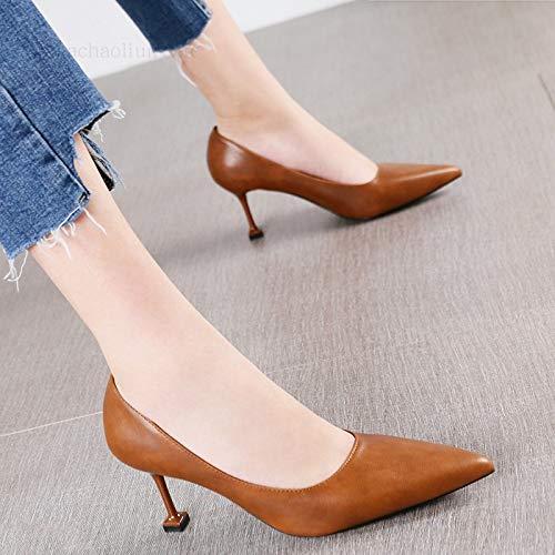 HRCxue Pumps Mode Spitze Stiletto Heels vielseitige flachen Mund einfache einzelne Schuhe Katze Schuhe weibliche Gezeiten