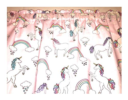 Pink Unicorn Cotton Valance Sale Cotton Window Curtain Treatment 43
