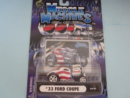 33 Ford Coupe Stars n Stripes Muscle Machine With Hood Scoop by Muscle Machines