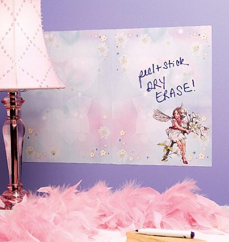 Flower Dry Board Erase (Wallies Wall Decals, Reusable Flower Fairy Dry Erase Wall Sticker with Dry Erase Pen, 2 Sheets)