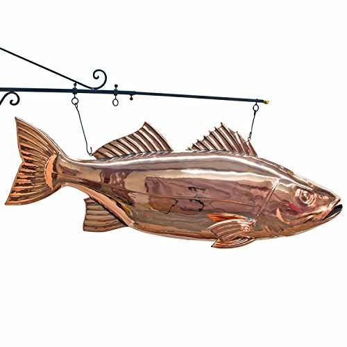 Copper fish BASS restaurant vintage kitchen seafood BIG TRADE Hanging SIGN ()