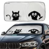 Car Windshield Sunshade with Pet Design, IC ICLOVER Cute Cartoon Design Front Auto Car Windshield Sun Shade Folding Silvering Sun Visor - UV Coating for UV Ray Deflector (59