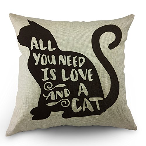 Moslion All You Need is Love and a Cat Lover Quote Pillow Covers Decorative Animal Black Cat Throw Pillow Cases 18 x 18 Inch Cotton Linen Cushion Cover for Men Women