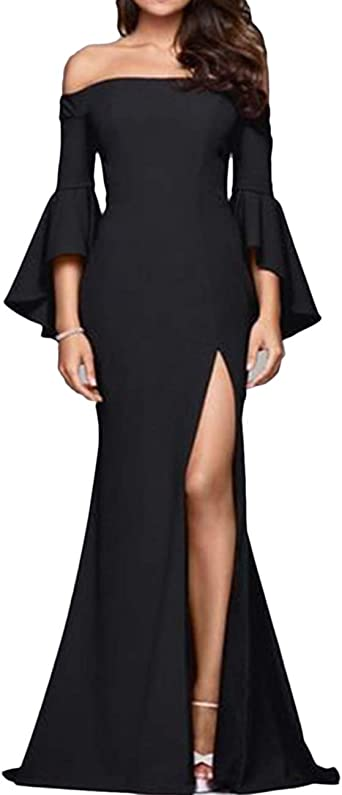 Eoeth Women Off Shoulder Lace Up Dress Evening Party Short Ruffle Dress Mini Mid-Length Dress Solid Banquet Business Gown