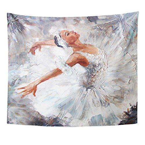 TOMPOP Tapestry Gray Ballet Oil Painting Girl Ballerina Drawn Cute Dancing Home Decor Wall Hanging for Living Room Bedroom Dorm 50x60 Inches by TOMPOP