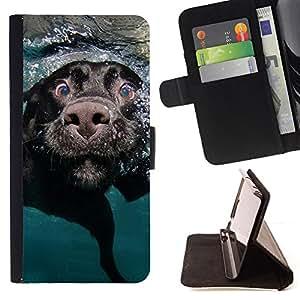 - Black Labrador Retriever Muzzle Dog - - Prima caja de la PU billetera de cuero con ranuras para tarjetas, efectivo desmontable correa para l Funny HouseFOR Samsung Galaxy S4 IV I9500