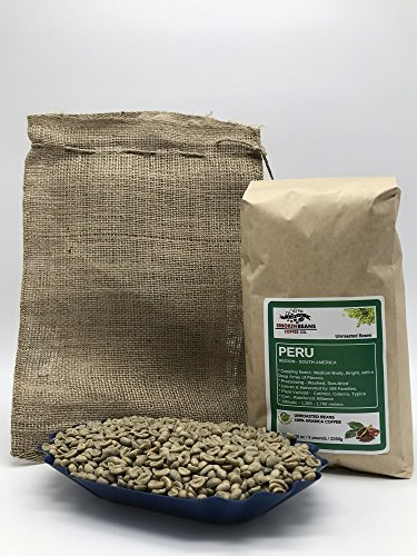 5 LBS – PERU (includes a FREE BURLAP BAG) Specialty-Grade, CURRENT-CROP Green Unroasted Coffee Beans – This Coffee has Proven to be very Versatile and is Excellent as a Blender or Solo