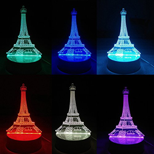 Iuhan Fashion Multicolor 3D Unique Lighting Effects Optical Home Decor LED Remote Control Table Lamp (F)