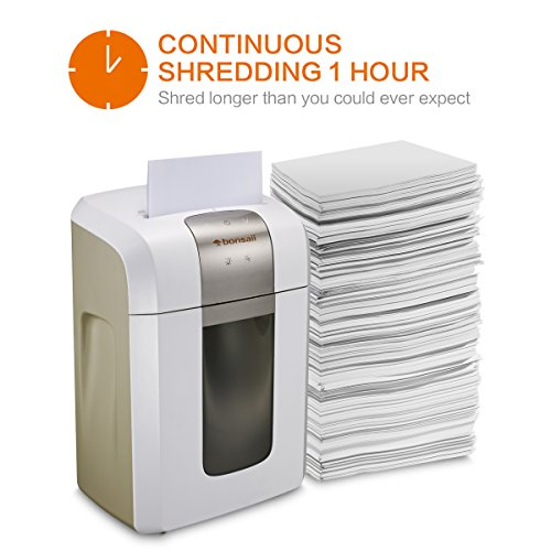 Bonsaii EverShred Pro 6-Sheet Micro-Cut Paper/CD/Credit Card Shredder, 60 Mintues Continuous Running with 4 Easy Move Casters,High Security P-5, White (4S16) by bonsaii (Image #2)