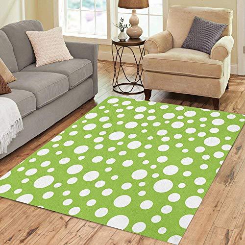 (Pinbeam Area Rug Green Polka Random Dot Pattern Lime Circle Bubbles Home Decor Floor Rug 5' x 7' Carpet)