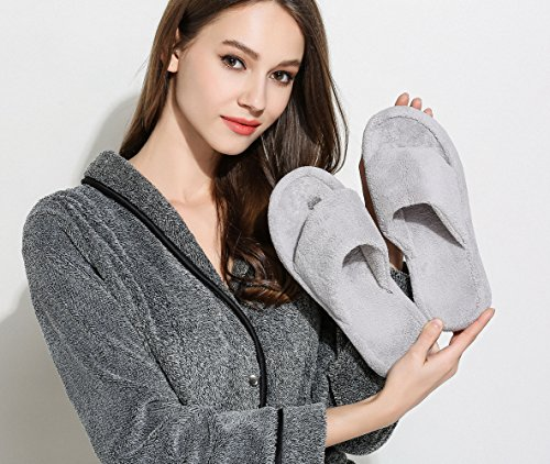 Support Arch Fleece Slippers with House Women Slippers Thong Indoor and Men Grey Coral Flip flops Women for wU0XE