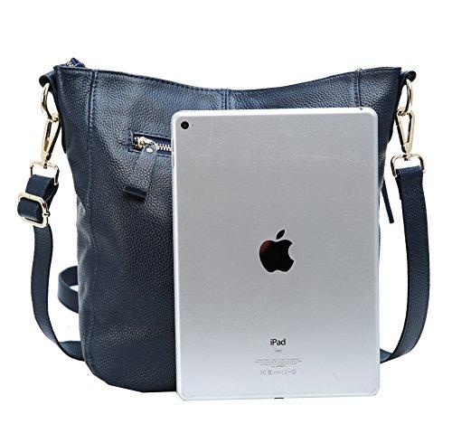 Bags Shoulder Body Cross Heshe Ladies Handbags and Bag Satchel Shoulder Leather Purses for Designer Blue Womens 54478qr