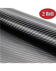 BangShou Autofolie 2 Rolls 3D Vinyl Wrap Carbon Folie DIY Autofolie Verdikte Decoratief Zwart (152 * 30cm)