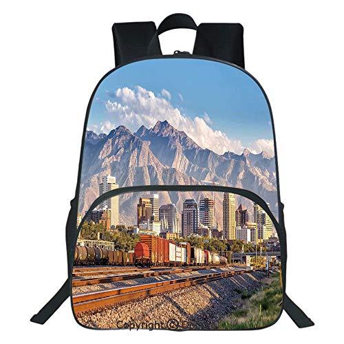 Oobon Kids Toddler School Waterproof 3D Cartoon Backpack, Downtown Salt Lake City Skyline in Utah USA Railroads Mountains Buildings Urban, Fits 14 Inch ()