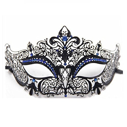 ShineBlue Masquerade Mask Filigree Metal Eyemask with Rhinesones for Women Costume Masked Ball Fancy Party 1 (Black & Blue)