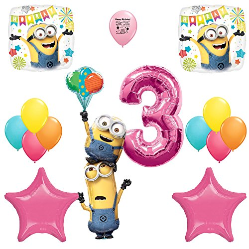 Despicable Me 3 Minions Party Supplies 3rd Birthday Stacker Balloon Decoration Kit (Pink Minion)