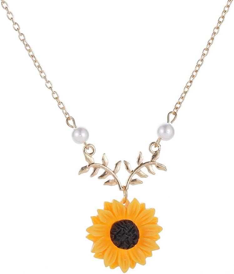 FEIDA Collares de moda para mujer, joyería de decoración, elegante perla falsa girasol colgante cadena collar Dorado