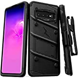 Zizo Bolt Series Compatible with Galaxy S10 Plus Case Military Grade Drop Tested with Built in Kickstand Holster Black Black