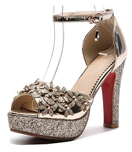 Sequin Peep Toe Platform - Aisun Women's Peep Toe Sandals with Platform - Ankle Strap Buckled High Heel - Chunky Nightclub Bling Sequins (Gold, 8.5 B(M) US)