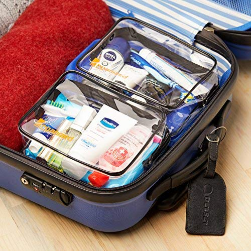 Organized Explorers Clear Travel Toiletry Bag 2 pack for Carry On Luggage Harris Trading Co. TSA Approved Toiletry Bag