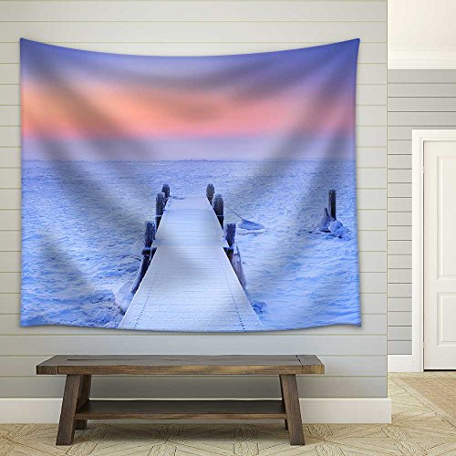 Jetty on a Frozen Lake Photographed at Sunrise on a Record Breaking Cold Morning in the Netherlands Fabric Wall Tapestry