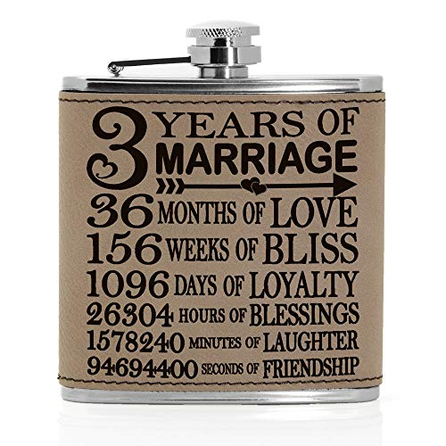 Kate Posh - 3 Years of Marriage Engraved Leather 6 oz Flask, Our 3rd Wedding Anniversary, 3 Years as Husband & Wife, Gifts for Her, for Him, for Couples