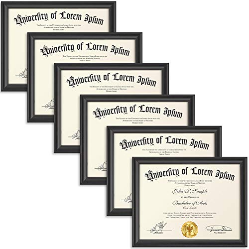 Icona Bay 8.5x11 Diploma Frame (6 Pack, Black), Certificate Frame, Document Frame, Composite Wood Frame for Walls or Tables, Set of 6 Lakeland Collection