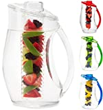 infused water pitcher glass - Water Infuser Pitcher & Gourmet Recipe eBook (Emailed) | BPA Free Fruit Infusion Pitcher with Glass Like Appearance and Largest 3+ Liter Capacity for Amazing Spa Water (Clear)