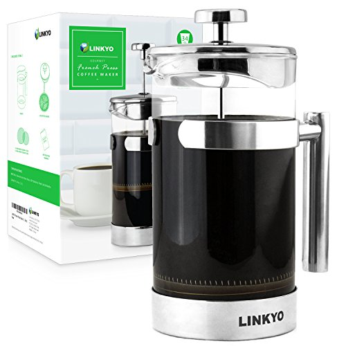 LINKYO French Press Coffee Maker with Thermal Shock Resistant Glass Carafe, 34 ounce (1 Liter)