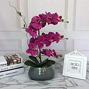 Large Lifelike Silk Orchid with Decorative Ceramic Grey Vase Vivid Artificial Flower Arrangement Potted Orchid Plant, Fuchsia 3