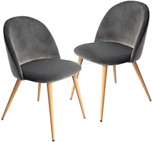CangLong Dining Set of 2, Modern Velvet Kitchen Room Chair, Gray