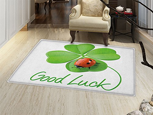 smallbeefly Going Away Party Door Mats for home Lucky Symbols Four Leaf Clover with Ladybug Irish Charm Good Luck Bath Mat Bathroom Mat with Non Slip Green Red Black (Luck Good Ladybugs)