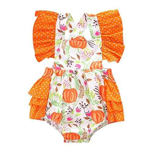 Kintaz Infant Toddler Baby Girl Ruffles Floral Pumpkin Printed Romper Outfits (12-18 Months, Orange) ()