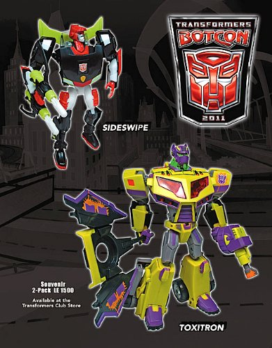 TRANSFORMERS ANIMATED BOTCON 2011 SIDESWIPE AND TOXITRON LIMITED EDITION ACTION FIGURE SET