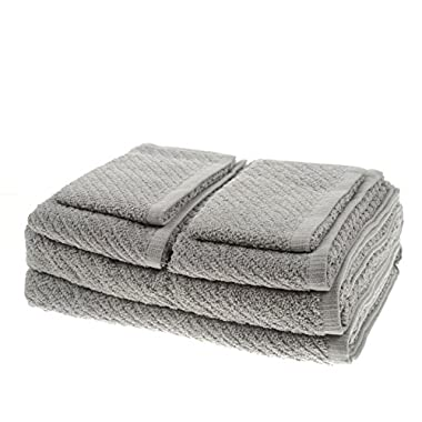 White Dove Classic Value Towel Set - 6 PCS Included: 2 Bath Towels, 2 Hand Towels, & 2 Washcloths - Cotton/Poly Blend for Maximum Performance - Lightweight - Quick Dry - by Unity (Ash Gray)