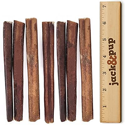 Jack&amp-Pup Premium Grade Odor Free Thick Bully Sticks Dog Treats (25 Pack) 6 Inches Long All Natural Gourmet Dog Treat Chews Fresh and Savory Beef Flavor Long Lasting Treat