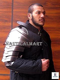 NauticalMart Plate Armour Blackened LARP Shoulder ARMOR- Single Pauldron