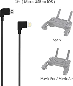 AxPower OTG Micro USB to iPhone iOS Cable Connector for DJI Spark Mavic Pro Mavic 2 Pro Zoom Air Reverse Data Cable for iPhone 7 8 X[1ft]