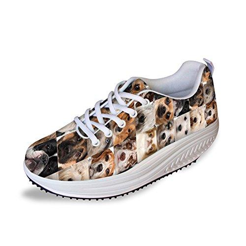 Abrazos Idea Animales Puzzle Impreso Mujeres Plataforma Zapatillas Deporte Zapatos Animales 2