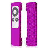 Fintie Protective Case for Apple TV 2 3 Remote Controller - Casebot [Honey Comb Series] Light Weight [Anti Slip] Shock Proof Silicone Sleeve Cover, Purple