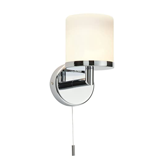 Modern chrome plated and frosted glass shade bathroom wall light modern chrome plated and frosted glass shade bathroom wall light with pull cord switch ip44 rated aloadofball Gallery