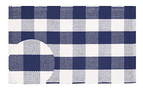 (Buffalo Check Cotton Rug 2-Piece Set 21x34 - Buffalo Checkered Rug 100% Cotton for Kitchen Entryway Living Room - Ink Blue-White)
