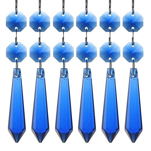 (H&D 55mm Crystal Icicle Prisms Chandelier Drop Pendants Lamp Candelabra Parts, Pack of 10 (Cobalt Blue))