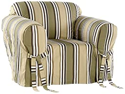 Classic Slipcovers Printed Classic Stripe Canvas Chair Slipcover, Sage