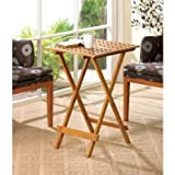 Bamboo Wood Geometric Cutout Design Portable Folding Tray Table