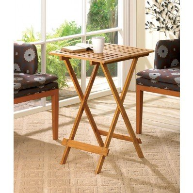 Bamboo Wood Geometric Cutout Design Portable Folding Tray Table by For The Kitchen