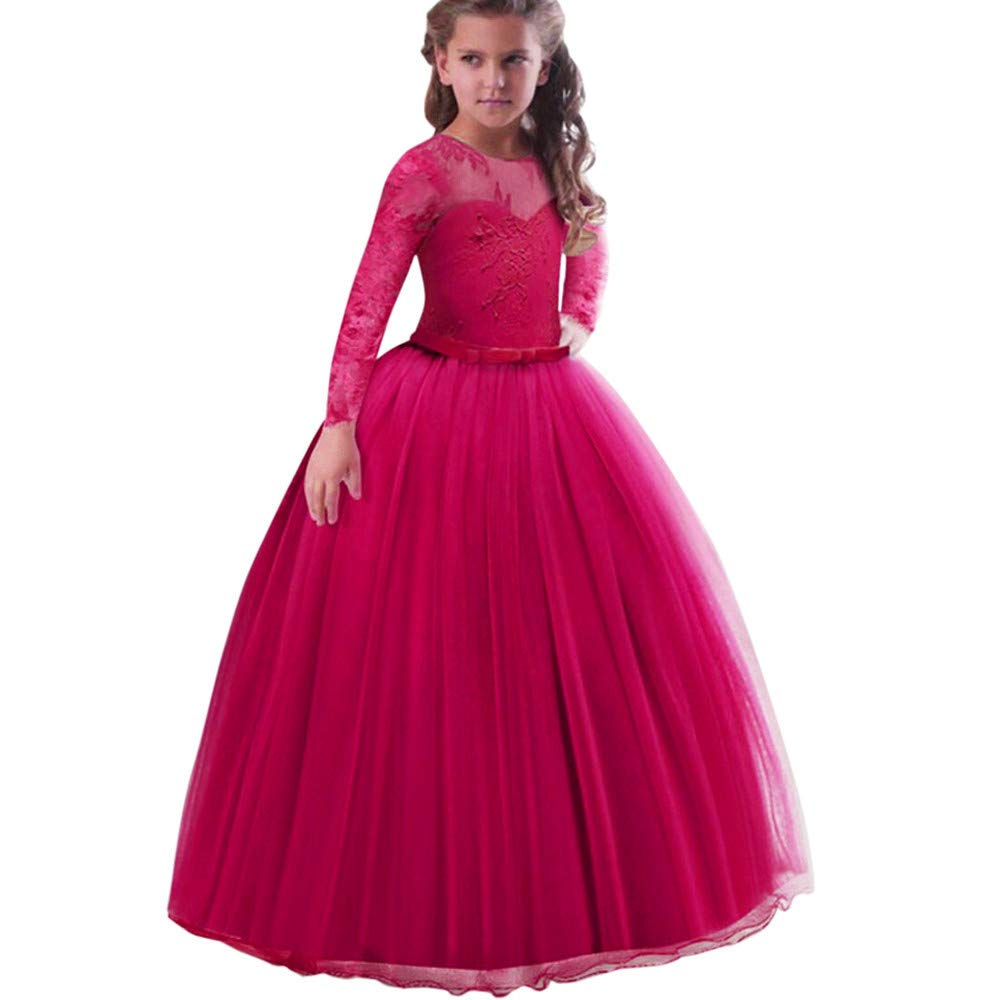 Lurryly❤Girl Long Sleeve Embroidery Princess Pageant Dress Kids Gown Party Wedding Dresses 3-9 T
