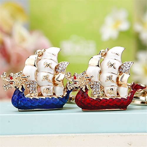 Reizteko Chinese Traditional Gold-Toned Crystal Rhinestone Safe Trip Wherever You go Dragon Boat Keychain Pendant Keychain Charms (Pack of 2(red+Blue)) - Enameled Purse Pendant